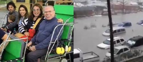 Silvio Santos tenta escapar dos estragos do Furacão Irma