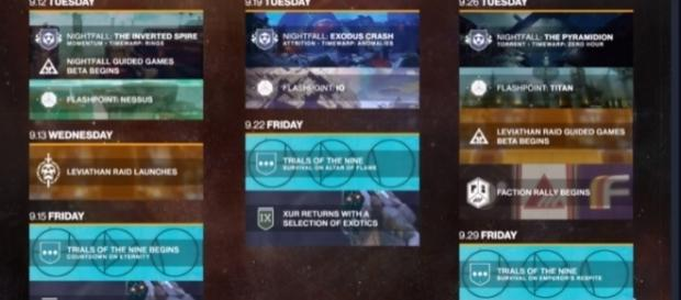 'Destiny 2's' itinerary for September - YouTube/MoreConsole
