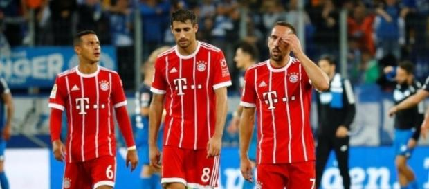 Thiago, Javi Martinez and Franck Ribery walk away disappointed after Bayern Munich's shock 2-0 loss to TSG 1899 Hoffenheim. (Source: The Sun)