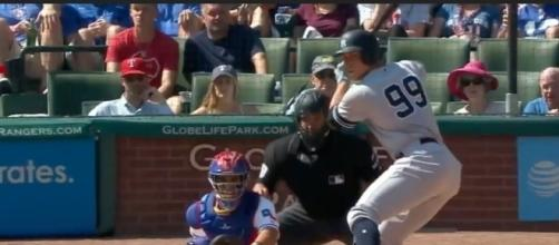 Aaron Judge hit two home runs in the Yankee's 16-7 win over Texas on Sunday. [Image via MLB/YouTube]