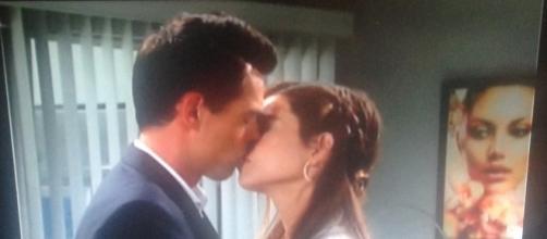 Billy and Victoria kiss. Cheryl E Preston CBS television screenshot.