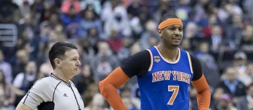 Carmelo Anthony still open for a trade. [Image via Keith Allison/Wikimedia Commons]