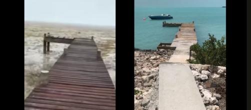 "The Bight, Long Island, Bahamas experienced a ""negative surge"" from Hurricane Irma [Image: YouTube/ViralHog]"