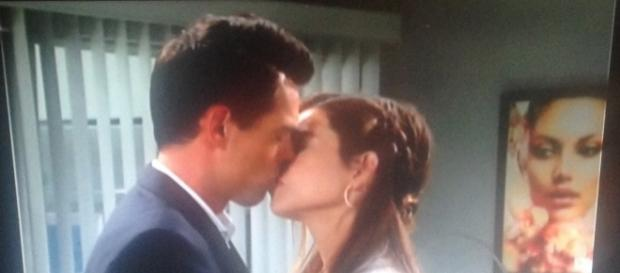 Billy and Victoria kiss. Cheryl E Preston CBS television screenshot.
