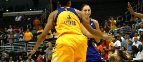 Candace Parker and the Sparks host Diana Taurasi and the Mercury in Game 1 of their WNBA playoffs semifinals series. [Image via WNBA/YouTube]