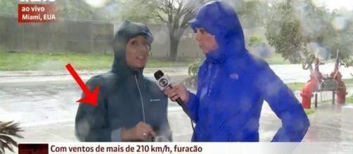 Tudo aconteceu ao vivo durante a reportagem ( Foto - Globo News )