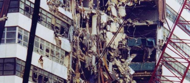 Damage to Fiterman Hall and debris from the collapse of the World Trade Center on 9/11 Image CCO Public Domain  Wikimedia Commons