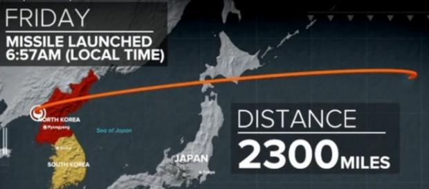 Map of Sept 15 launch of North Korea's ballistic missile. / [Image screenshot from ABC News via YouTube:https://youtu.be/BnS8nEUJVP4]