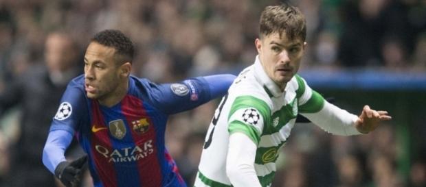 Neymar vs Lustig, chaudes retrouvailles pour ce Celtic-PSG (photo via 101greatgoals.com)