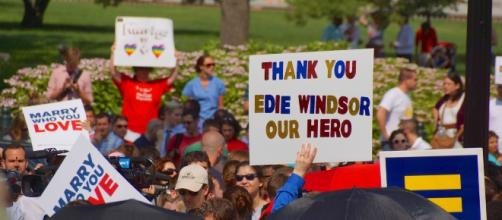 A congregation of people promoting same-sex marriage gives a shout out to Edith Windsor.