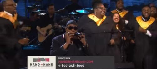 """Stevie Wonder performing his song """"Lean on me"""" during the hour long event. Credit - Youtube 