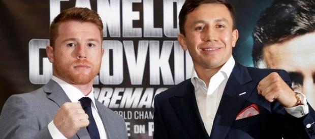 Canelo Alvarez and Gennady Golovkin/ photo by @ringnews24 via Twitter