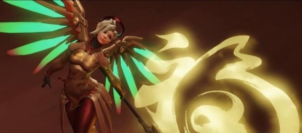 'Overwatch' hero Mercy. [Image via YouTube/AcidRockStar]