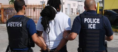 An illegal immigrant is deported by immigration officials. Source;commons.wikimedia.org