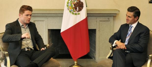 Canelo Alvarez (left) is favored to win over Gennady Golovkin on Saturday / Photo via Presidencia de la República Mexicana, Flickr CC