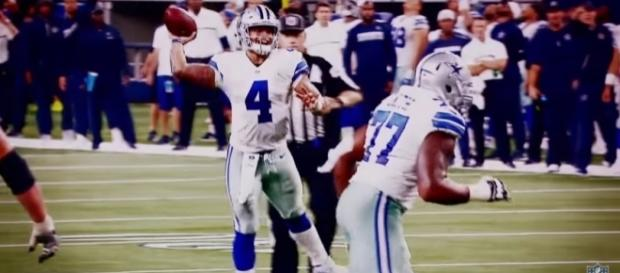 Dallas Cowboys quarterback Dak Prescott throwing a pass. Image Credit: YouTube Screenshot -- @NFL