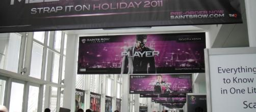 A banner of Saint Row: The Third game is shown at E3 2011 (Image Credit - Pop Culture Geek's photostream/Flickr)