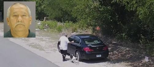 A man was caught on video dumping a dog on a southern Dallas road [Image: YouTube/New York Post]