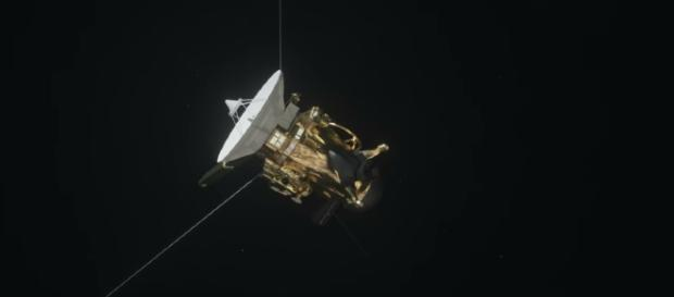 Cassini spacecraft blasted in the skies above Saturn [Image via YouTube/NASA Jet Propulsion Laboratory]
