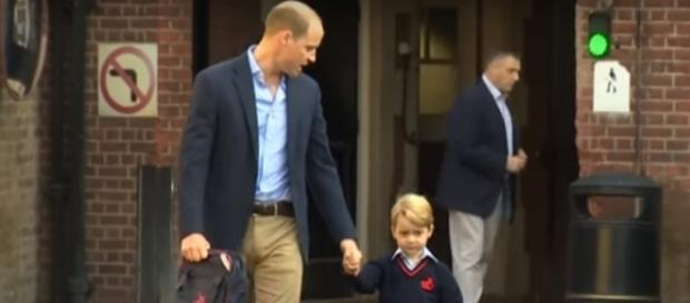 Prince William and Prince George at Thomas's Battersea School- (YouTube/The Royal Family Channel)