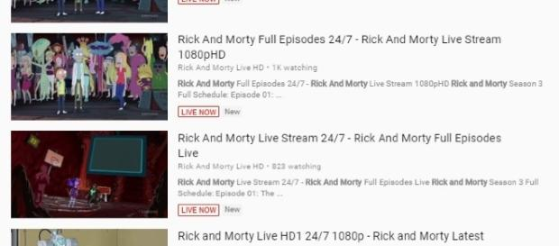 """Rick and Morty"" live stream on YouTube is still available. Photo via Screenshot/YouTube.com"