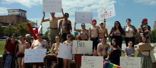 Free the Nipple-Springfield poses prior to a recent protest in this photo provided via the organization's Facebook page.