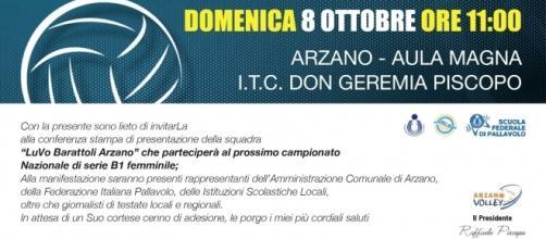 L'invito alla presentazione della Luvo Barattoli Arzano Volley
