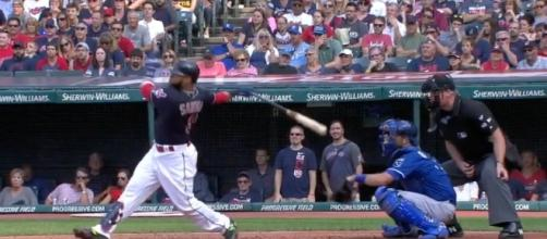 Carlos Santana helped power the Indians to an 8-4 win over Kansas City on Saturday. [Image via MLB/YouTube]