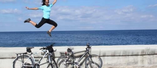 Deficientes visuais puderam pedalar bicicletas num parque de São Paulo