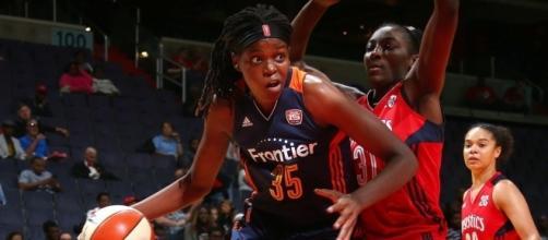 The Connecticut Sun's Jonquel Jones is the 2017 WNBA Most Improved Player. [Image via WNBA/YouTube]