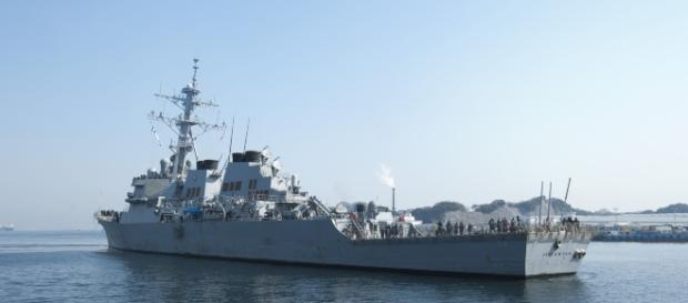 USS McCain, one of the destroyers that was involved in a collision. Source; commons.wikimedia.org