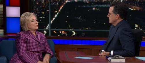 Hillary Clinton and Stephen Colbert [Image via 'The Late Show' with Stephen Colbert/YouTube screencap]