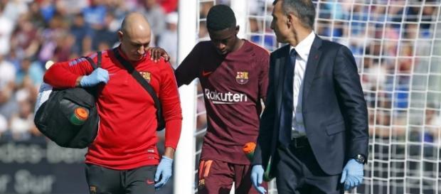 Dembélé, injured at the Coliseum Alfonso Pérez / by Miguel Ruiz - FCB
