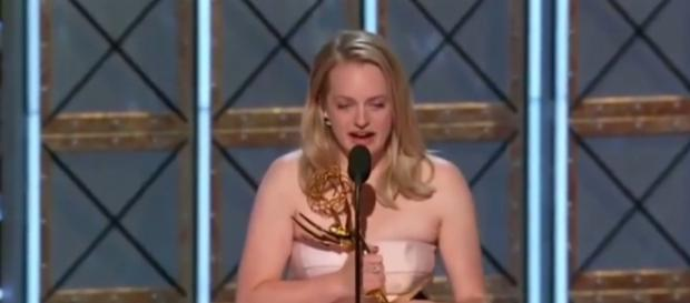 Elizabeth Moss accepting her 'Outstanding Actress' for playing Offred in 'The Handmaid's Tale.' / from 'YouTube' screen grab