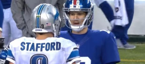 Manning and Stafford meet again tonight on MNF. [Image via YouTube]