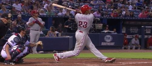 Aaron Altherr hit a grand slam home run to power the Phillies to Monday's 4-3 win over the Dodgers. [Image via MLB/YouTube]