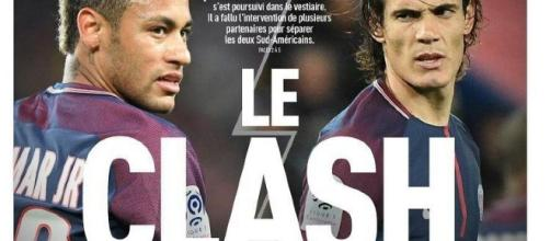 "Cavani e Neymar: primi dissapori. Foto da ""L'Équipe"""