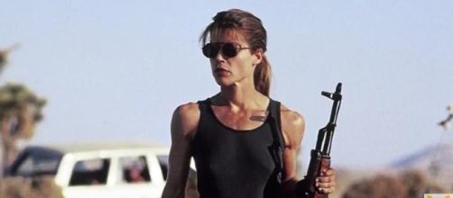 "James Cameron announced the return of Linda Hamilton in the upcoming sequel to the ""Terminator"" franchise. - via YouTube/HybridNetwork"