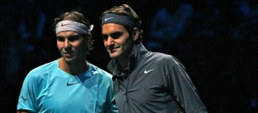 Rafa Nadal alongside Roger Federer. Image Credit: Marianne Bevis, Flickr -- CC BY-ND 2.0