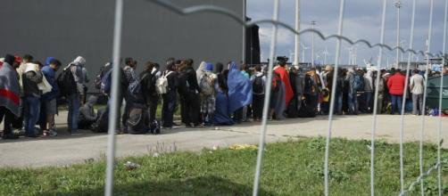 Un grupo de refugiados espera para acceder a un campo en Alemania.