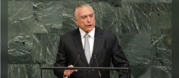 O presidente brasileiro Michel Temer na 72ª Assembléia Geral das Nações Unidas