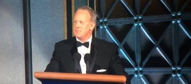 Sean Spicer's Emmy Awards cameo earns laughs and accusations of 'normalizing/' / from 'YouTube' screen grab
