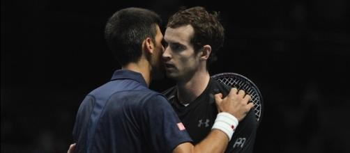 Andy Murray and Novak Djokovic during the 2016 ATP World Tour Finals. Photo by Marianne Bevis, Flickr -- CC BY-ND 2.0