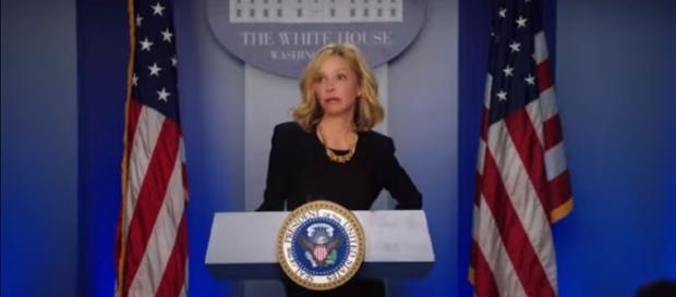 Calista Flockhart's Cat Grant on 'Supergirl' is at the White House. ~ The CW Television Network/YouTube