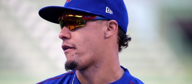 Cubs second baseman Javier Baez looks on during batting pr… | Flickr - flickr.com