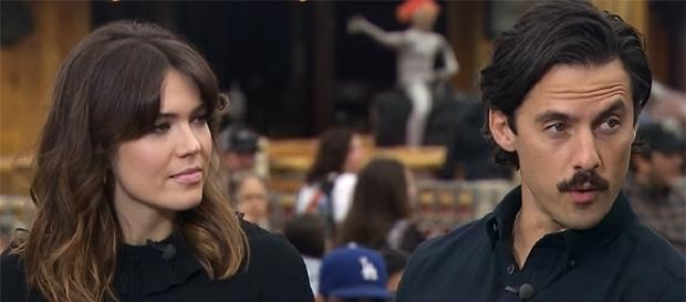 "Mandy Moore and Milo Ventimiglia play on-screen couple Rebecca and Jack in ""This is Us."" (YouTube/extratv)"