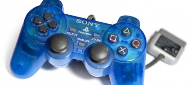 Translucent Blue DualShock controller for the Sony PlayStation. (via Wikimedia Commons - Alphathon)