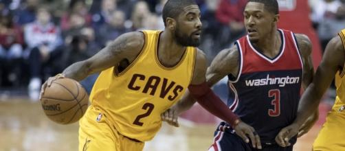 Kyrie Irving talks about the blockbuster trade. (Image Credit - Keith Allison/Flickr)