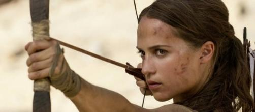 Lara Croft in the 'Tomb Raider' film. [image source: YouTube/Warner Bros. Pictures)