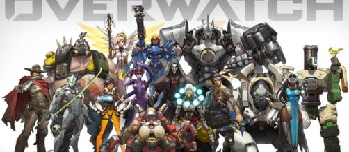 Mercy and friends gathered to showcase the heroes of Overwatch